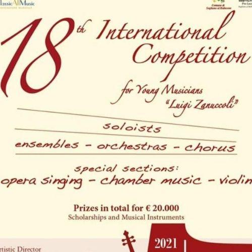 """18° Concorso Internazionale per Giovani Musicisti """"Luigi Zanuccoli"""""""